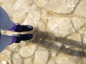 standing on a frozen lake in South Lake Tahoe