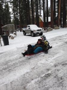 Sledding in Tahoe
