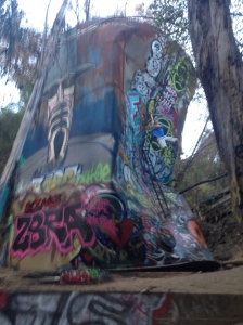 hanging off the water tower behind the bunker